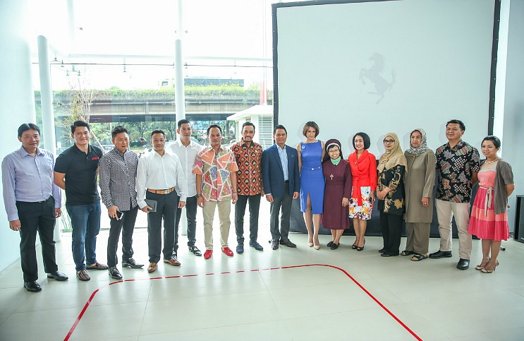Press Conference for charity donation announcement recipients at Ferrari Jakarta Showroom on January 20, 2016 in Jakarta, Indonesia